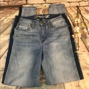 Seven7 Mid Rise Skinny Dark Side Stripe Jeans